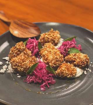 Fried chicken, coleslaw, wild honey, sesame dust, asian basil. This was so good. Definitely one of the favorites.