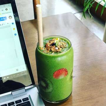 This morning's writing session paired well with a smoothie called The Green. Full of goodness! (Side note: it's quite difficult to drink granola through a paper straw #savetheturtles) #greensmoothie #greendrink #healthylife #healthydrink #greenstuff #bali #healthyliving